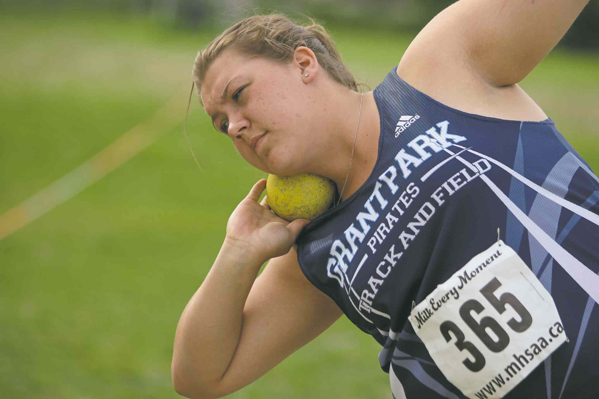 BORIS MINKEVICH / WINNIPEG FREE PRESSTaylor Heald will be in Saturday�s junior varsity girls shot put final after qualifying with a throw of 12.06 metres Thursday.