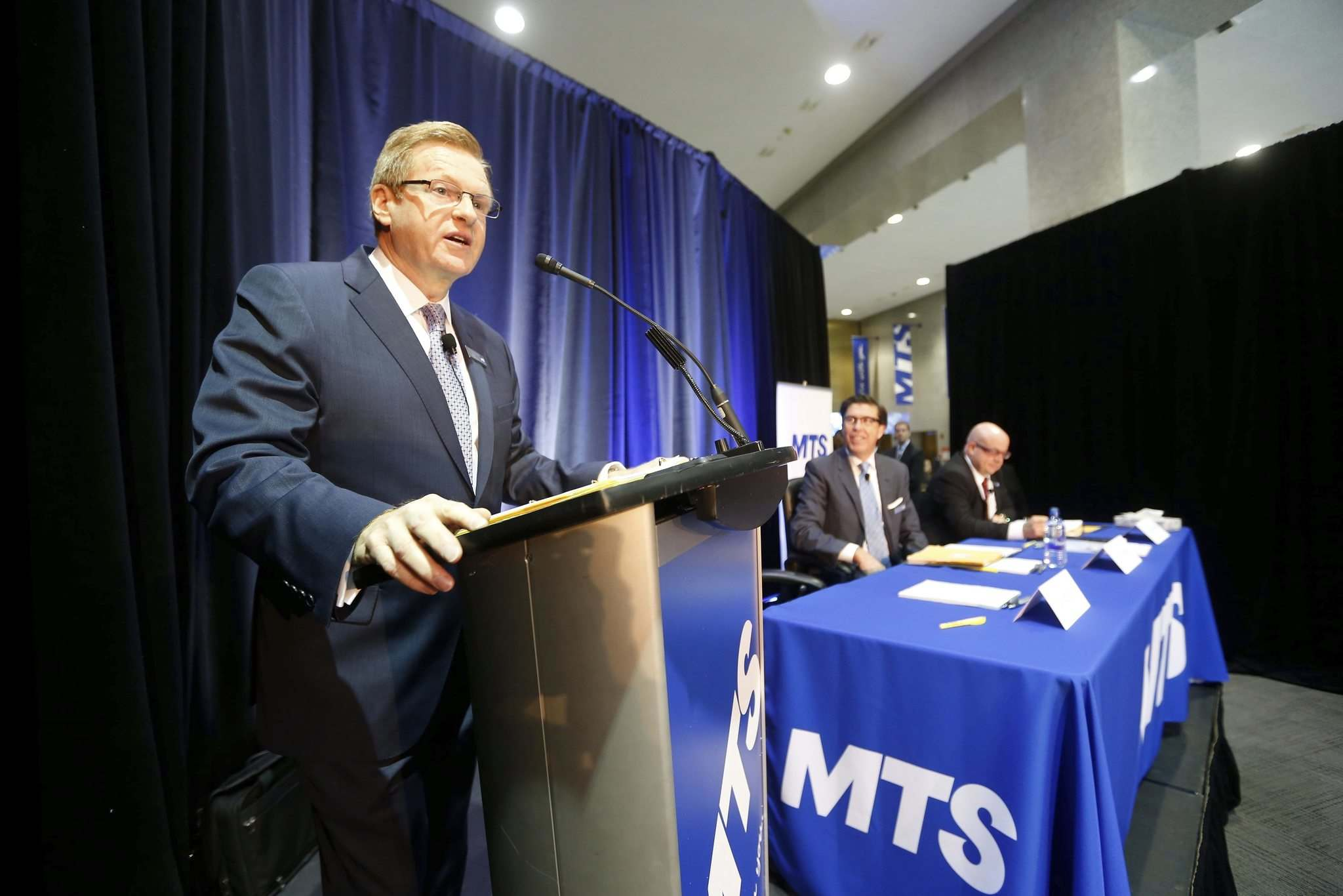 SUPPLIED</p><p>MTS board chairman David Leith (from left), CEO Jay Forbes and corporate secretary Paul Beauregard at the MTS annual general meeting Thursday.</p>