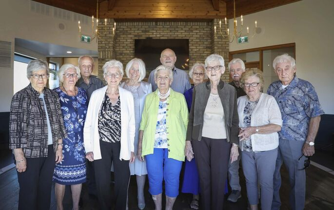 JESSICA LEE / WINNIPEG FREE PRESS</p></p></p></p><p>14 friends of Club 56 on September 22, 2021 at Larters at St. Andrew's Golf and Country Club on the very last meeting. From left to right: Frieda Peters, Adita Sukkau, John Sukkau, Martha Neufeld, Eleonore Esau, Verna Froese, Henry Esau, Vanita Schmidt, Esther Braun, Victor Schmidt, Sylvia Martens and George Martens.</p></p></p></p><p>In 1956, 14 couples from Winnipeg married and formed a club they called Club '56. They have been meeting every year since 1956, however this meeting is their last meeting because the members are aging and some have moved out of the province. The original group of 28 is now a group of 14 as some members have passed away or moved out of province.</p></p></p></p><p>Reporter: Ben</p>