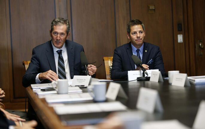 Premier Brian Pallister, left, and Mayor Brian Bowman. (Wayne Glowacki / Free Press files)