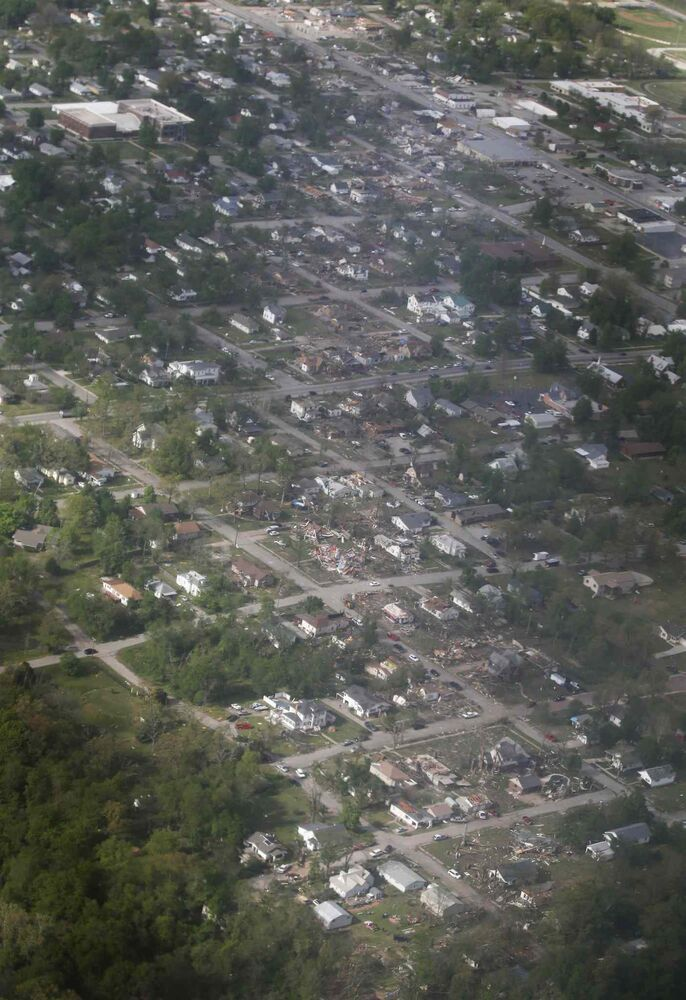 A tornado's path is seen in an aerial photo made over Baxter Springs, Kan. (Orlin Wagner / The Associated Press)