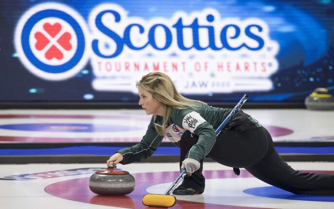 Team Wild Card skip, Jennifer Jones warms up prior to draw 13 at the Scotties Tournament of Hearts in Moose Jaw, Sask., Wednesday, February 19, 2020. THE CANADIAN PRESS/Jonathan Hayward