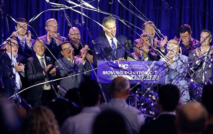 Manitoba Premier Brian Pallister, the Progressive Conservative candidate for Fort Whyte, celebrates his victory at the Progressive Conservative Party's election night headquarters at Canad Inns Polo Park.