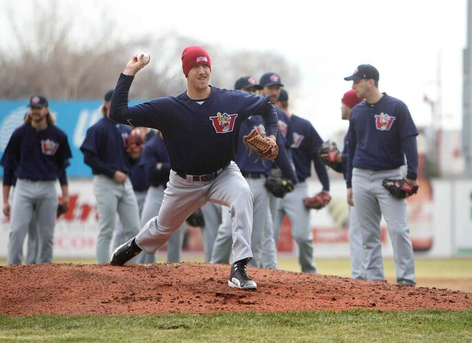 Kyle Bellamy, #23, throws a pitch at Shaw Park during the Winnipeg Goldeyes