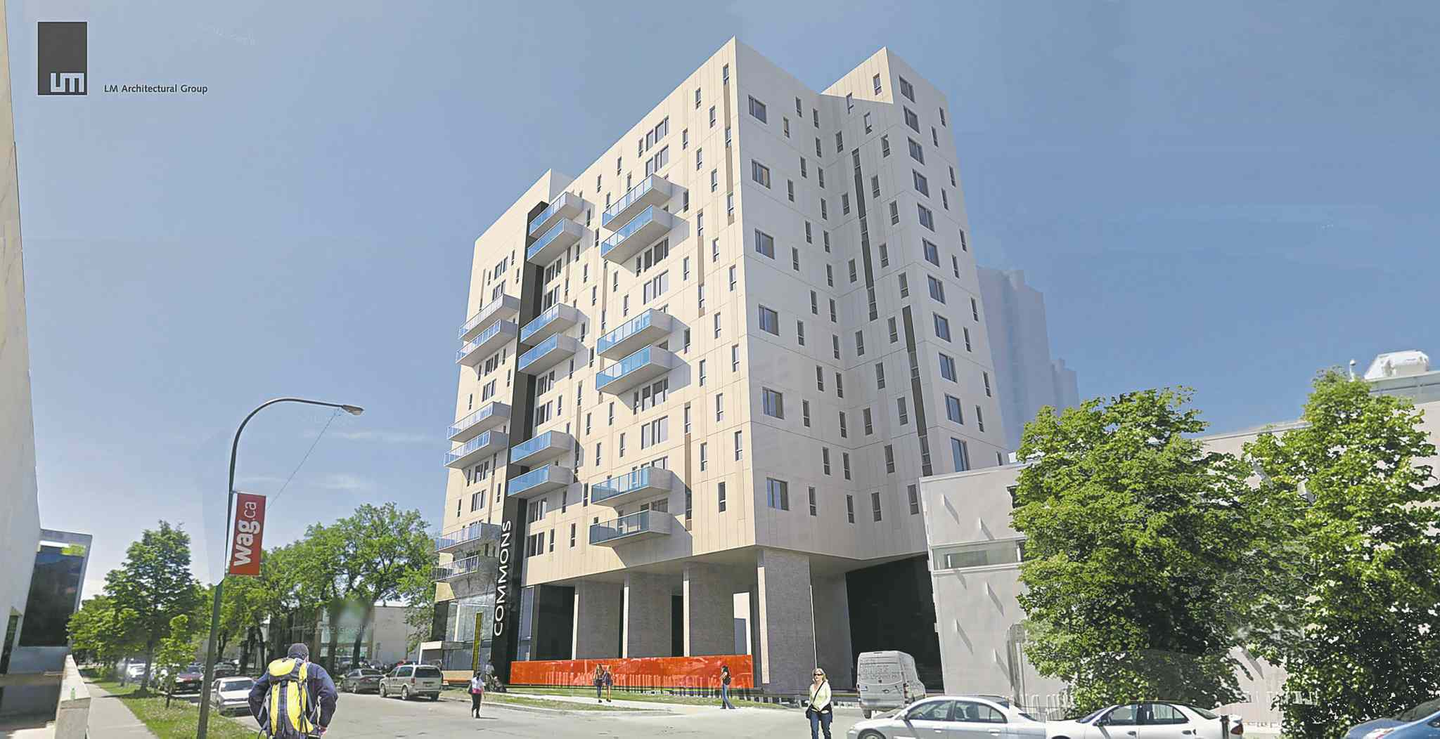 Artist's rendering of a 14-storey UWinnipeg Commons apartment complex that will add more living options in downtown Winnipeg for students, families and individuals.