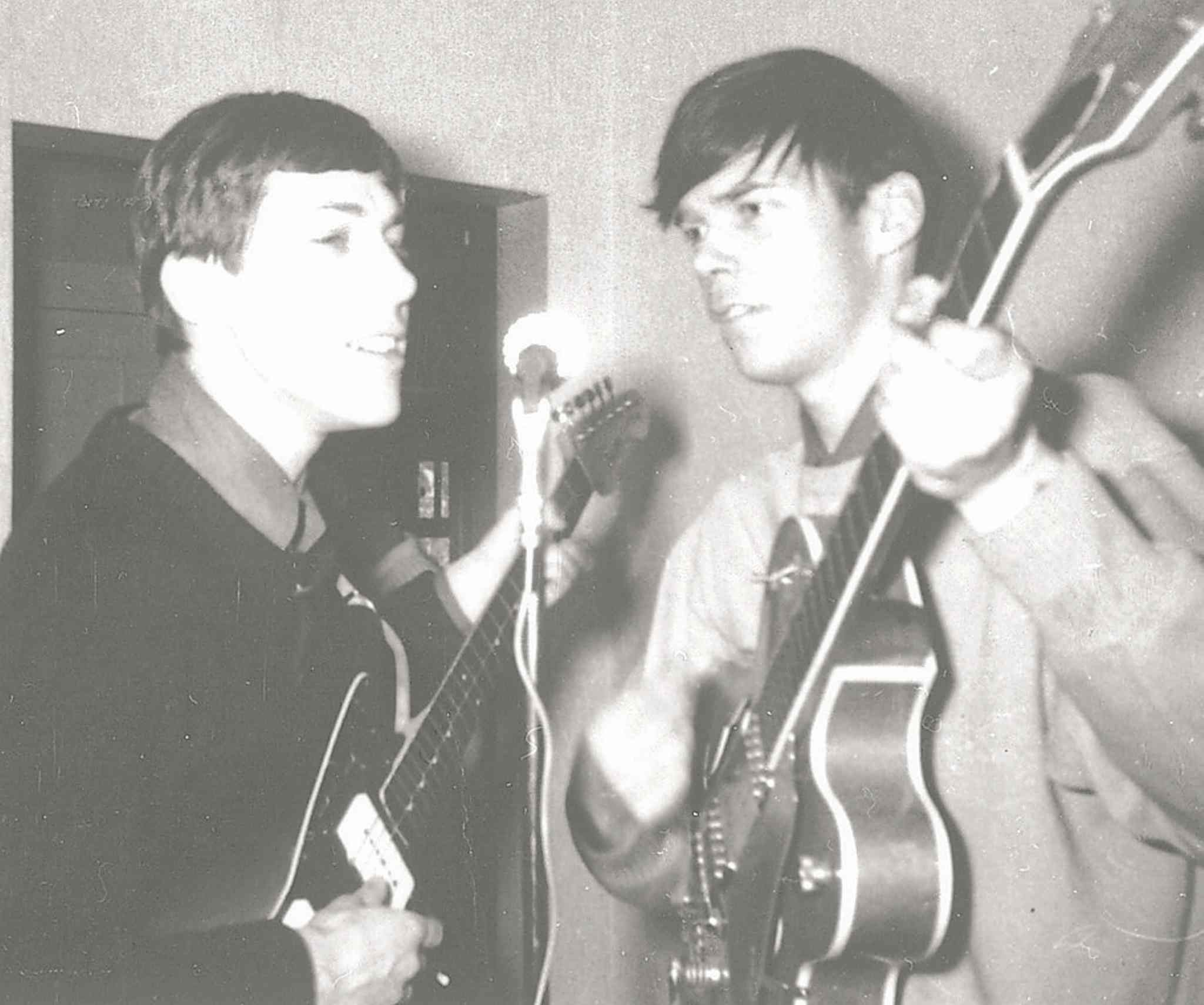 Neil Young (right) rehearses at his Grosvenor Avenue home in 1965.