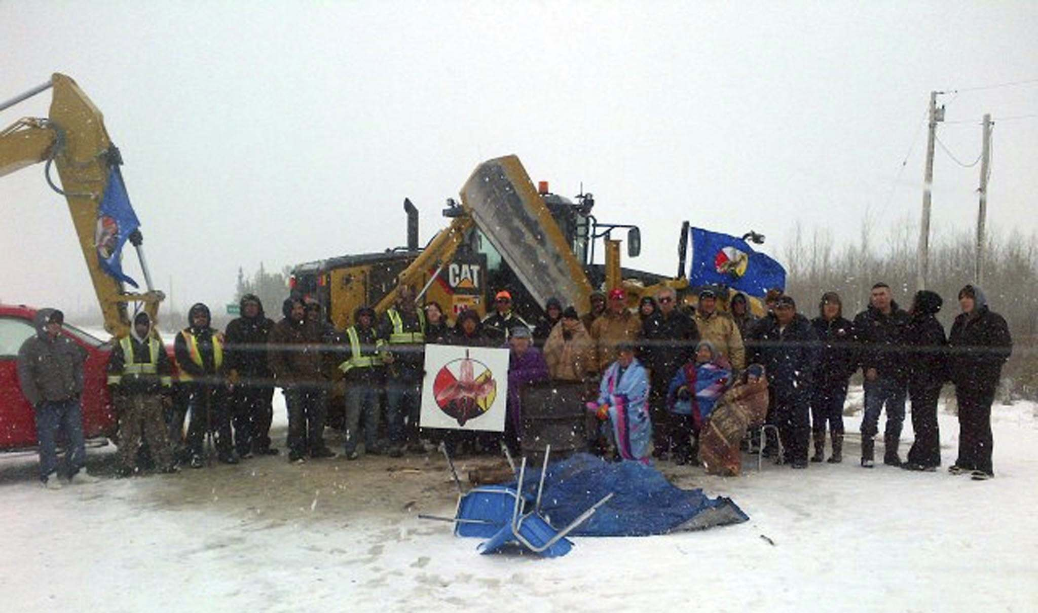 CLARA MCLEOD PHOTO</p><p>The blockade by Fox Lake Cree Nation began after members of the band discovered ceremonial land, adorned with prayer flags and tobacco ties, was destroyed.</p>