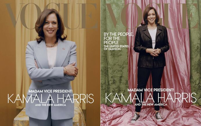 Tyler Mitchell / Vogue</p><p>Vogue published a polished image (left) of U.S. Vice President-elect Kamala Harris on the digital cover of their February issue, but opted for more casual shot in the print version.</p></p>