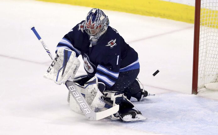 Winnipeg Jets goaltender Eric Comrie (Trevor Hagan / The Canadian Press files)</p>