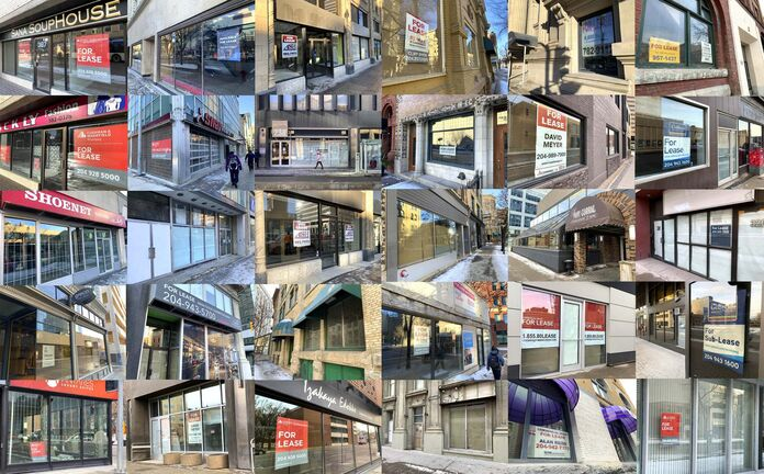 Image by Brent Bellamy</p><p>A collage shows some of the many dozens of buildings in downtown Winnipeg that have 'for lease' signs, a number that has risen as the COVID-19 pandemic prompted more downtown office employees to work from home.</p>