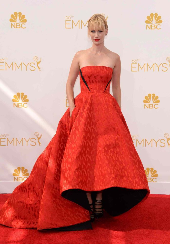 January Jones (Mad Men) arrives at the 66th Primetime Emmy Awards at the Nokia Theatre L.A. Live Monday in Los Angeles.  (Evan Agostini/Invision for the Television Academy/AP Images)