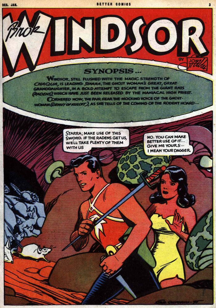 A rare full-colour Brok Windsor adventure. The majority, like nearly all Canadian comic books of the era, were printed in black and white.