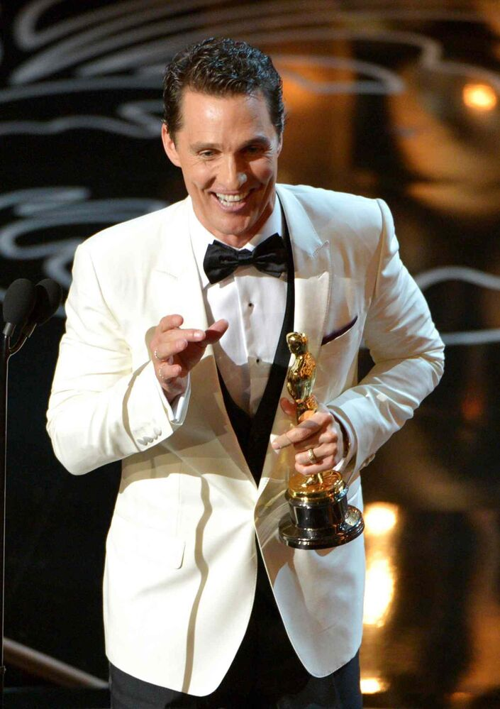 Matthew McConaughey accepts the Academy Award for best actor in a leading role for Dallas Buyers Club.