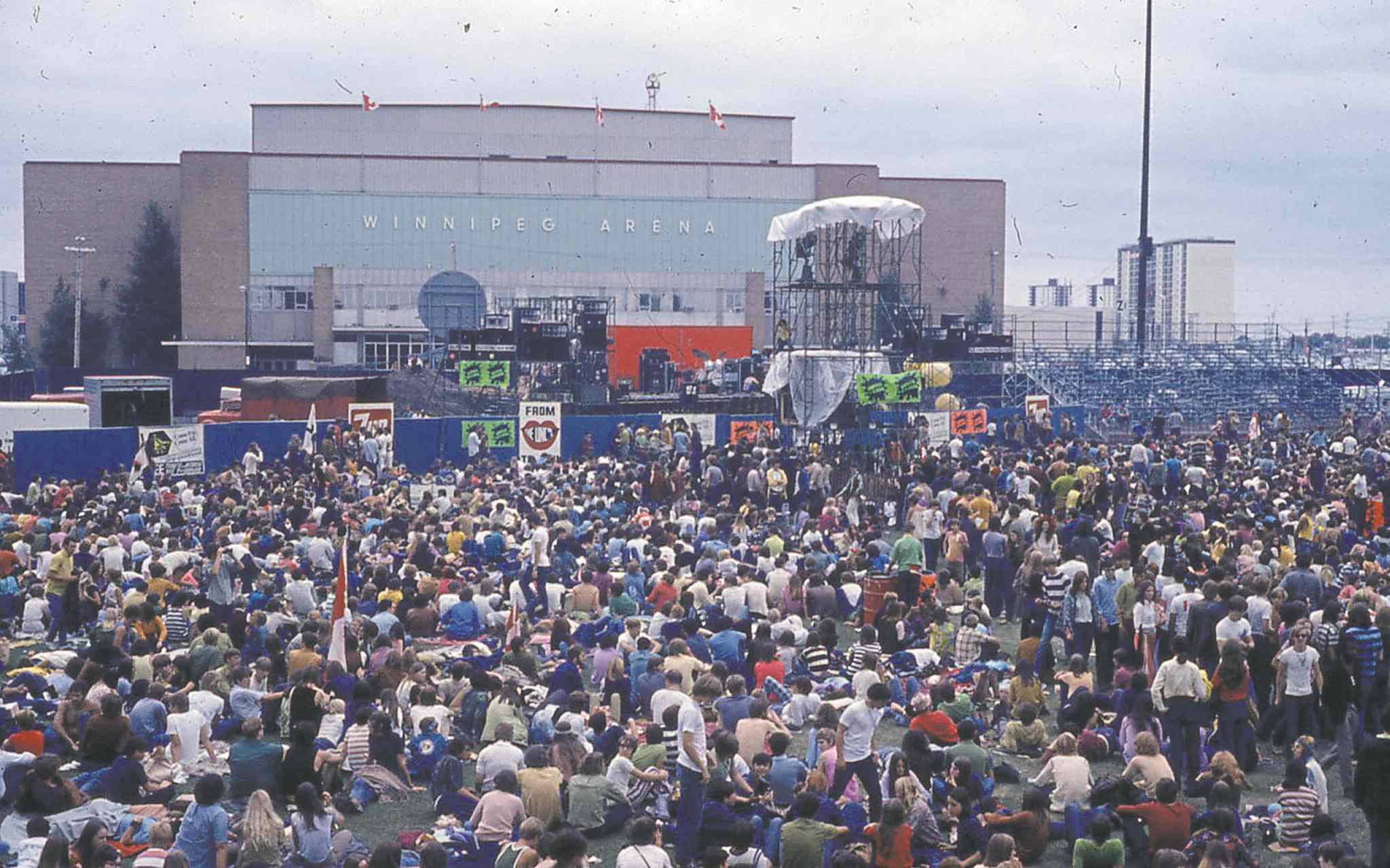 The scene at the stadium before the skies opened.