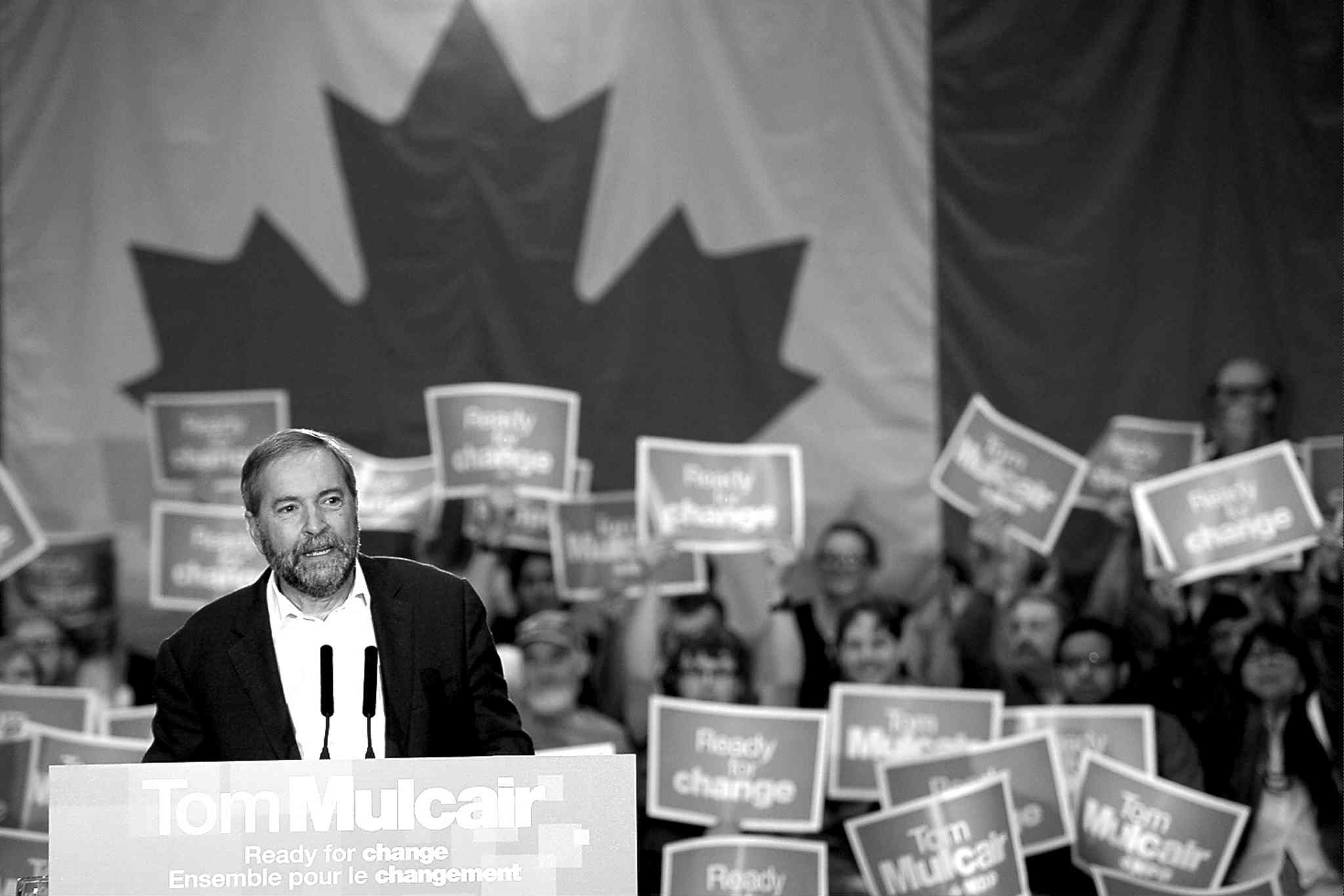 NDP Leader Tom Mulcair speaks to supporters at a campaign rally in Penticton, B.C