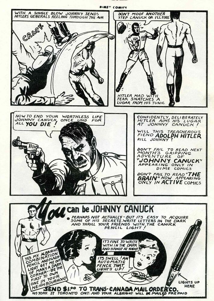 Johnny Canuck fights Adolf Hitler hand-to-hand in the pages of Dime Comics. (From The Great Canadian Comic Books)