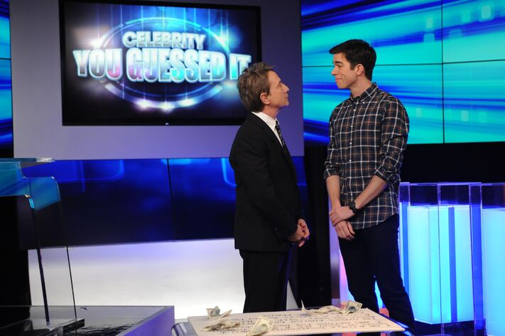 John (John Mulaney, R) starts to write comedy for Lou Cannon (Martin Short, L) in the