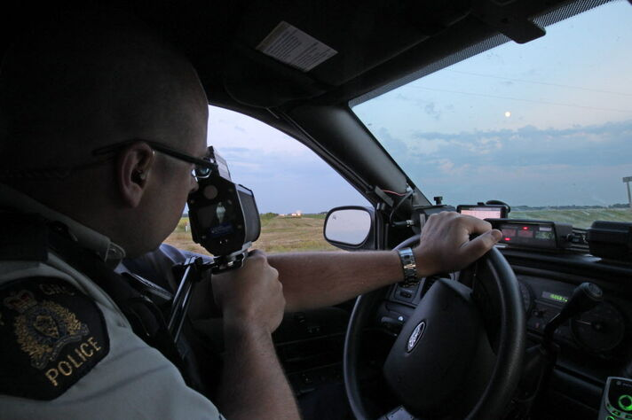 Cpl. Mark Hume is on the job catching speeders on the Trans-Canada Highway near Portage la Prairie. He's alarmed by the number of people who drive more than 30 km/h over the speed limit.