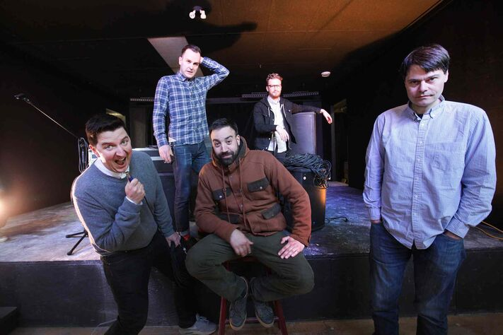 Tim Hoover (from left), Anthony Kowalczyk, Abi Torquato, David Schellenberg and Cam Loeppky are five of the nine owners of the GW, a new restaurant, livemusic and entertainment venue on Portage Avenue slated to open Nov. 3.