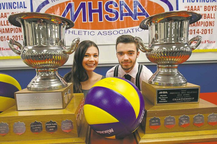 Lord Selkirk's Logan Desorcy (left) and Cole King of Miles Mac will lead their respective top-ranked teams into this week's Manitoba High Schools Athletic Association volleyball final four at the University of Manitoba.