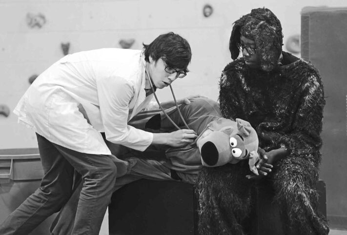 A scene from Tramper's Story, performed for children at Ryerson Elementary School Thursday.