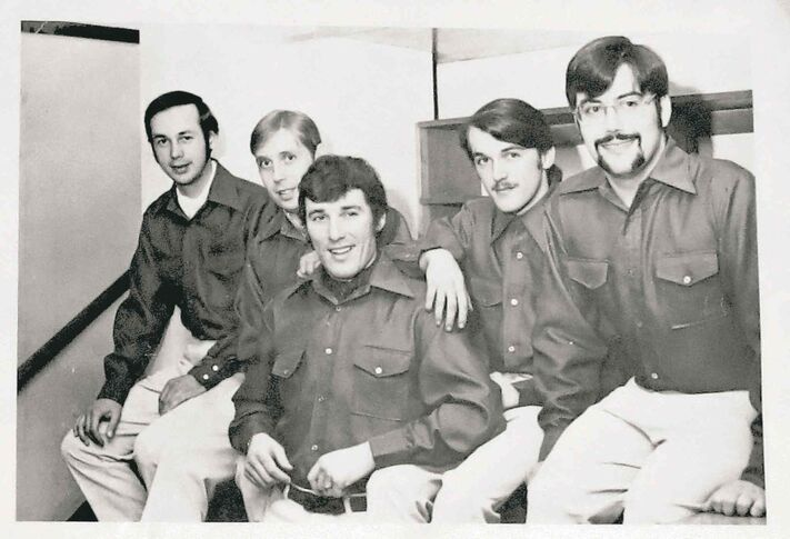 Submitted photo Police officer Andy Arsenault (centre), who used the name Andy Taylor while undercover, with fellow Prodigal Son members Tom Suffield (from left), Ken Houghton, Dwain Ste. Marie and Gary McMillan.