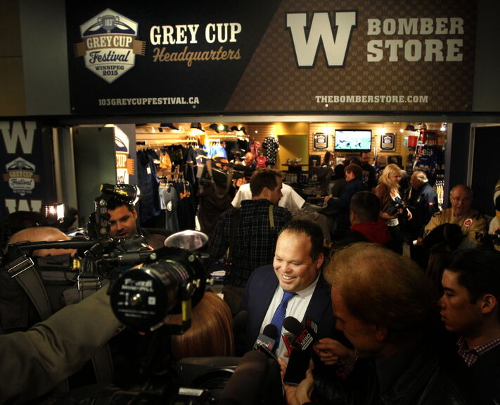 Wade Miller, Winnipeg Blue Bombers president and CEO in front of the 103rd Grey Cup headquarters and Bombers store in Winnipeg Square that was also officially opened last moth.
