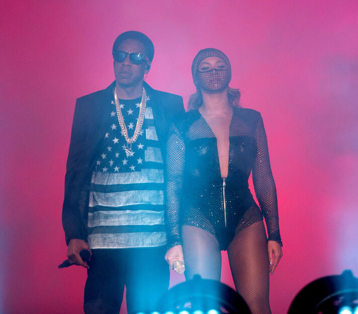 Beyoncé and Jay Z perform on the On the Run Tour at Investors Group Field Sunday.