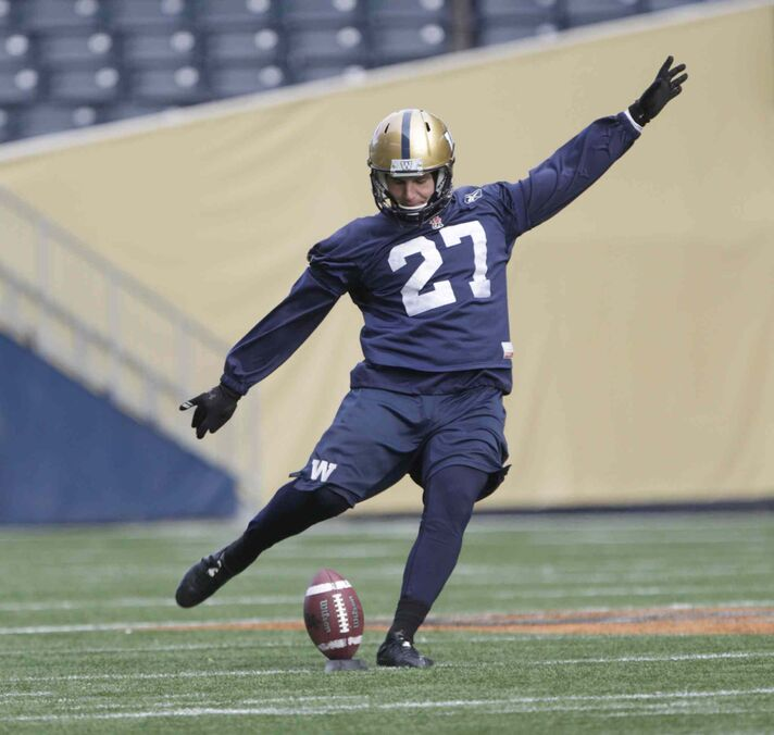 Kicker Lirim Hajrullahu gets some practice kicking with gusting winds today at Investors Group Field. The Blue Bombers will travel to Calgary on Friday in advance of their final game of the season on Saturday at McMahon Field against the Stampeders.