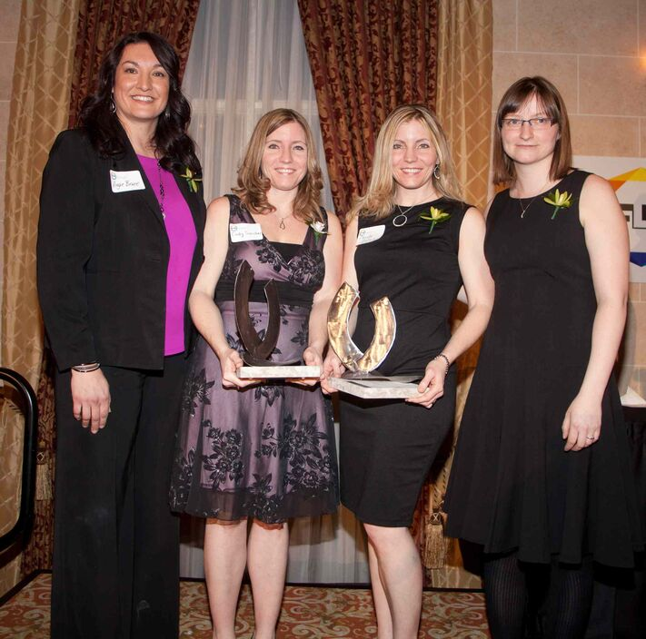 The seventh annual Future Leaders of Manitoba (FLM) awards were held Thursday, Jan. 22, 2015 at the Fort Garry Hotel. The awards recognize young Manitobans for their dedication to the social and economic growth of this province. Pictured, from left, are age 33-39 category finalists Angie Bruce, award winners Cindy Sanchez and Christa Slatnik and Jordan Miller.