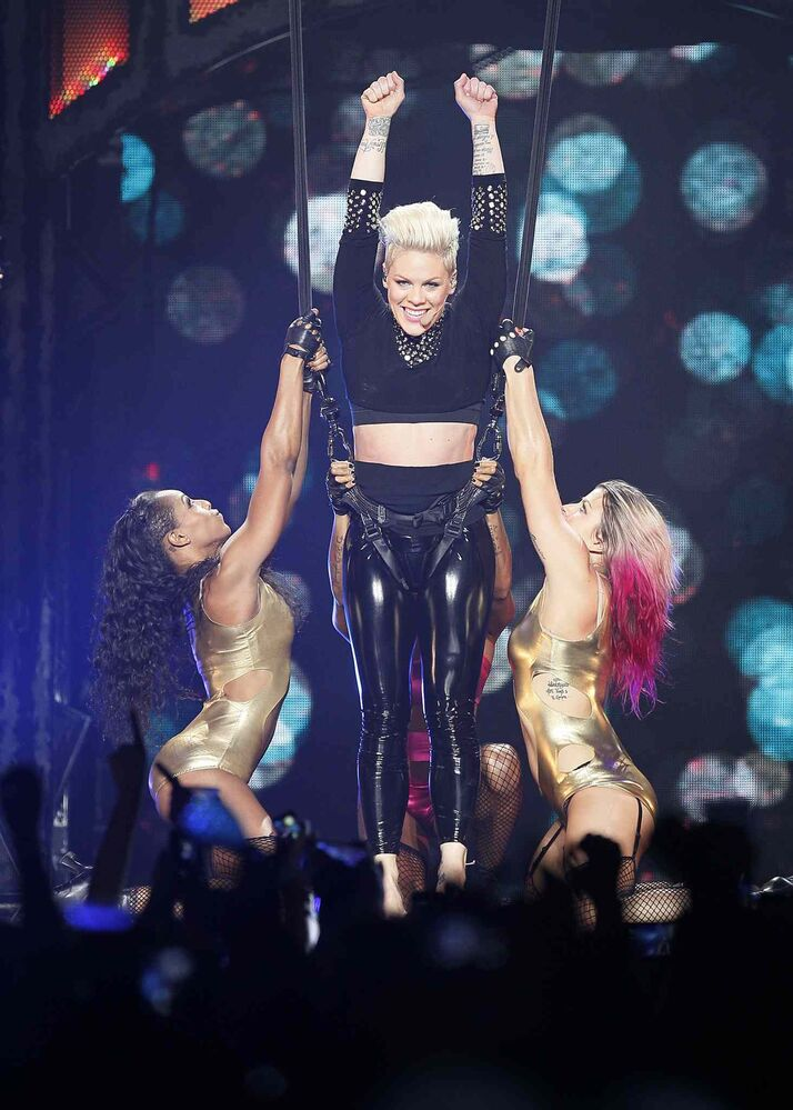 Pink performs at Winnipeg's MTS Centre in Winnipeg Tuesday night. (John Woods / Winnipeg Free Press)