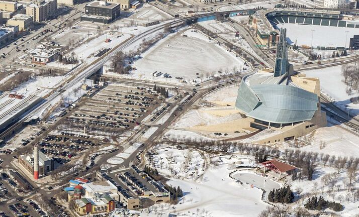 Parcel 4 is the empty lot to the upper left of the Canadian Museum for Human Rights in this 2018 aerial photo. (Dan Harper / CMHR)