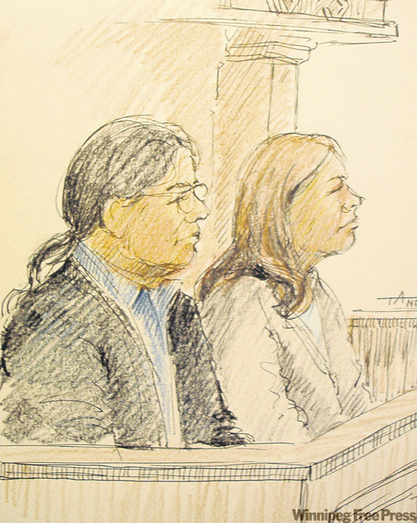 Karl McKay (left) and Samantha Kematch are seen in a courtroom sketch during their 2008 trial.