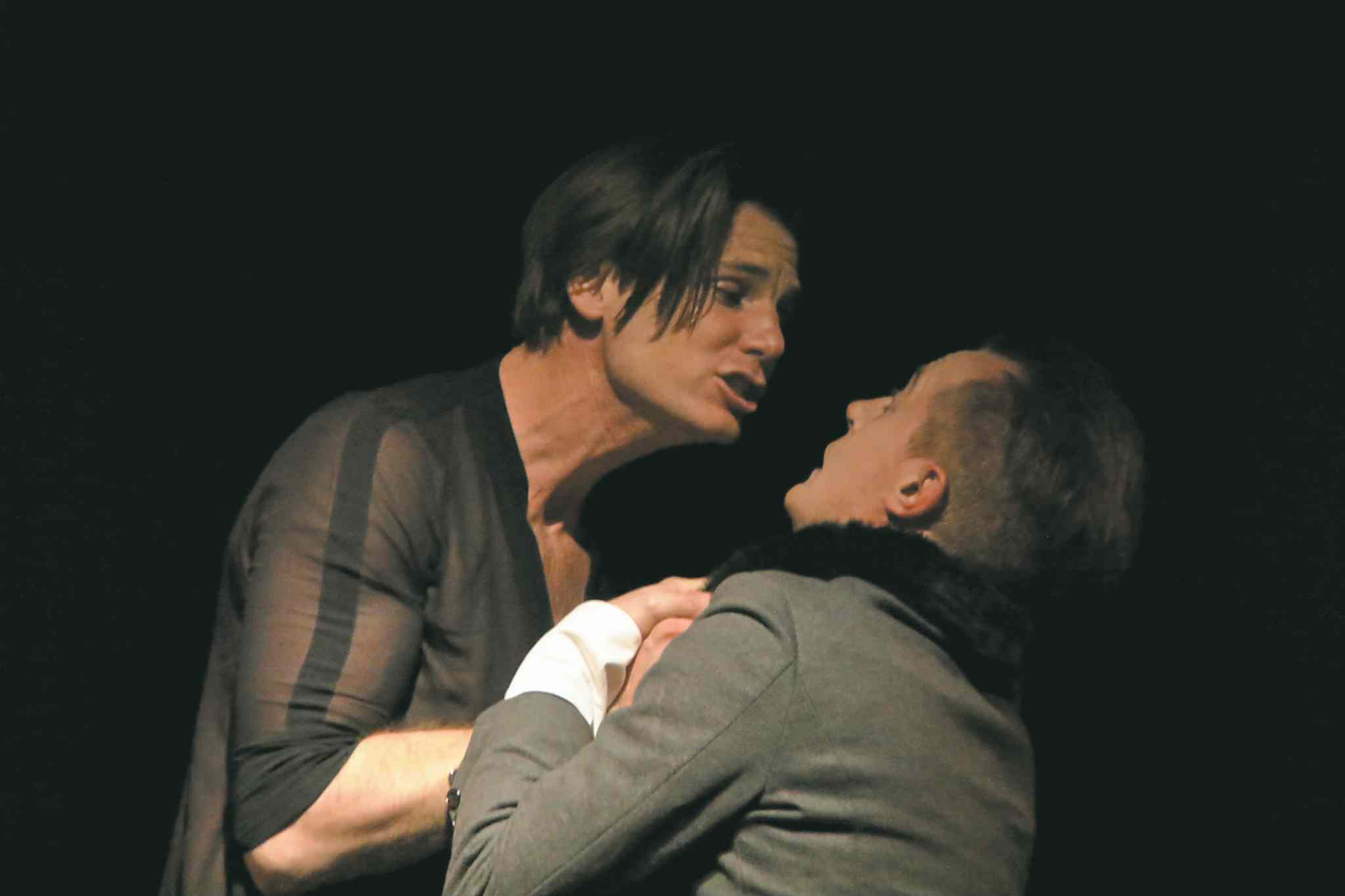 Karl Thordarson (left) as Gaveston and Toby Hughes as the bishop.