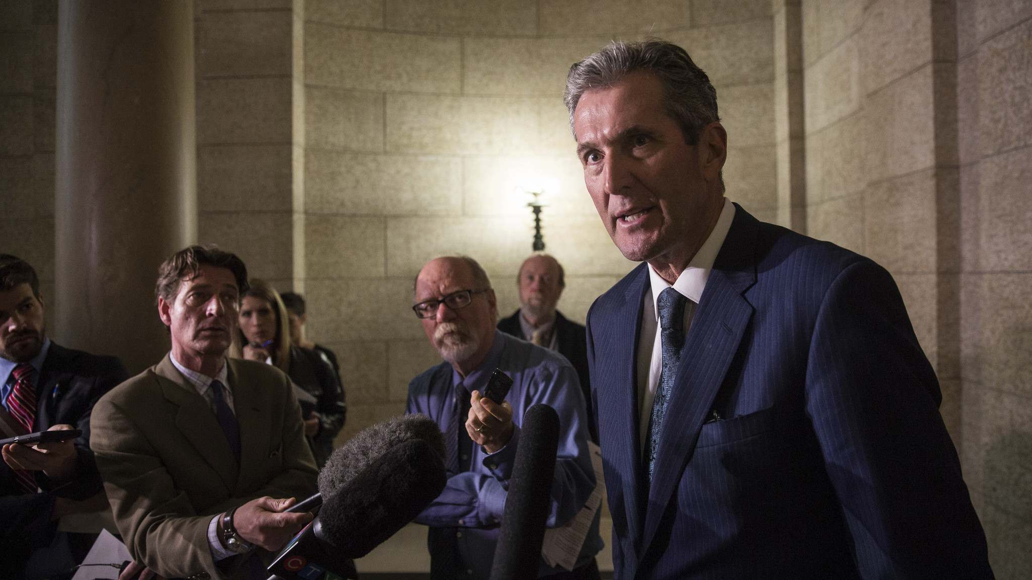 MIKE DEAL / WINNIPEG FREE PRESS</p><p>Premier Brian Pallister talks to the media after question period Wednesday.</p>