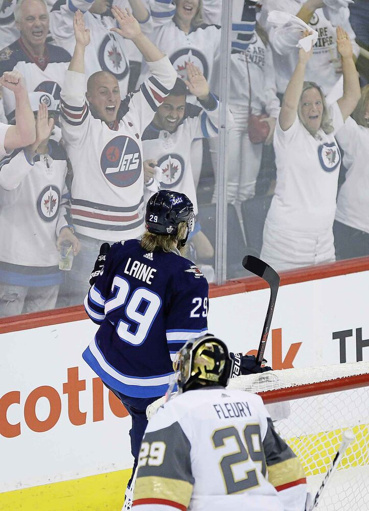 JOHN WOODS / THE CANADIAN PRESS</p><p>Winnipeg Jets' Patrik Laine (29) celebrates his goal on Vegas Golden Knights goaltender Marc-Andre Fleury (29) during first period of game one action in the NHL Western Conference Final in Winnipeg on Saturday, May 12, 2018.</p>