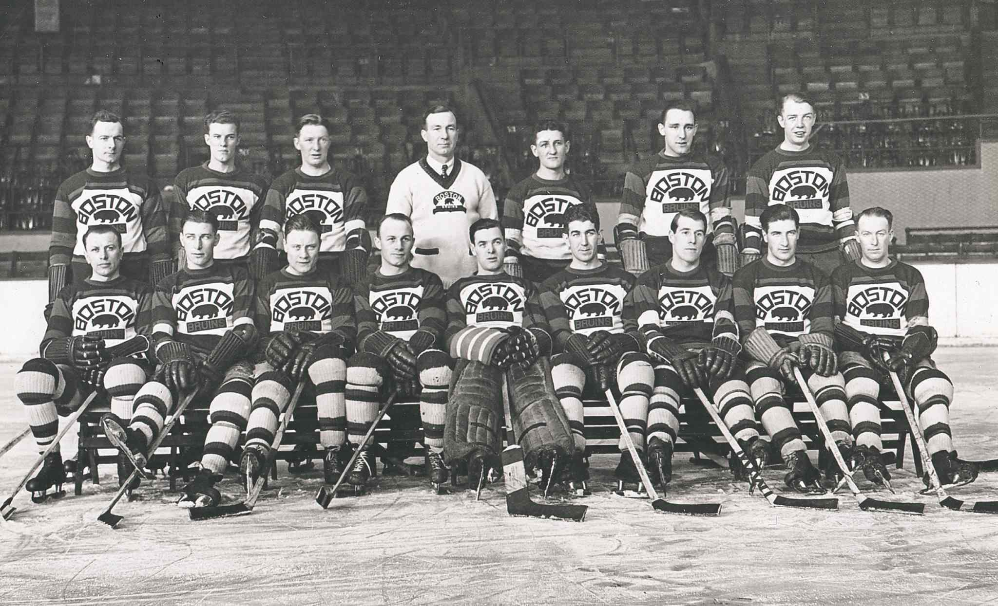 Art Ross (back row, centre) was the first coach and general manager of the Boston Bruins when they entered the National Hockey League in the 1924-1925 season.