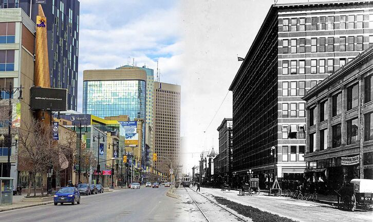 1920s: Looking east on Portage Ave towards Main Street from Carlton. At the time Winnipeg's commercial centre of gravity was shifting from Main Street to this stretch of Portage Avenue.