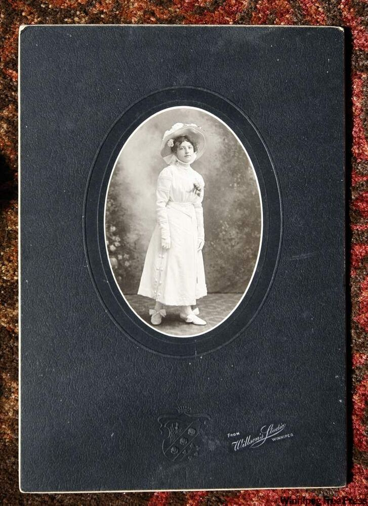 Fjola Olansson in her confirmation dress, 1908 photo. Olansson is a relative of Nelson Gerrard, who collects archival studio photos of early Icelandic immigrants  to Manitoba.