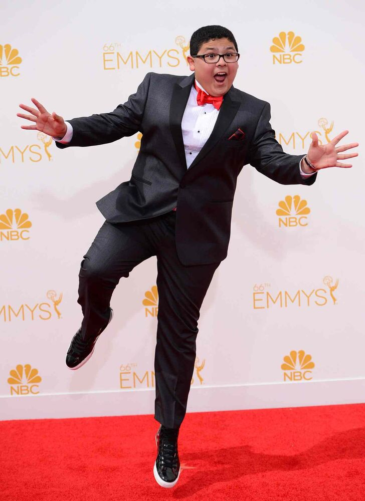 Rico Rodriguez (Modern Family) arrives at the 66th Annual Primetime Emmy Awards at the Nokia Theatre L.A. Live in Los Angeles.  (Jordan Strauss/Invision/The Associated Press)