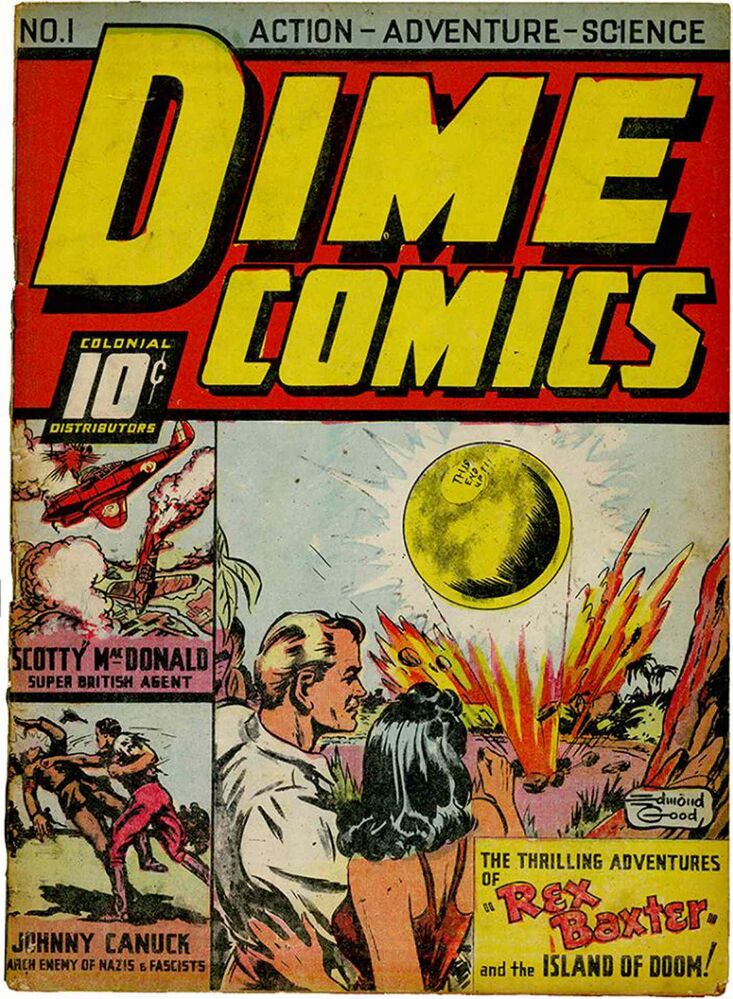 Johnny gets corner billing in his first appearance in Dime Comics.