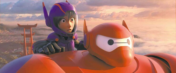 DisneyAnimated characters Hiro Hamada, voiced by Ryan Potter (left), and Baymax, voiced by Scott Adsit, in a scene from Big Hero 6.