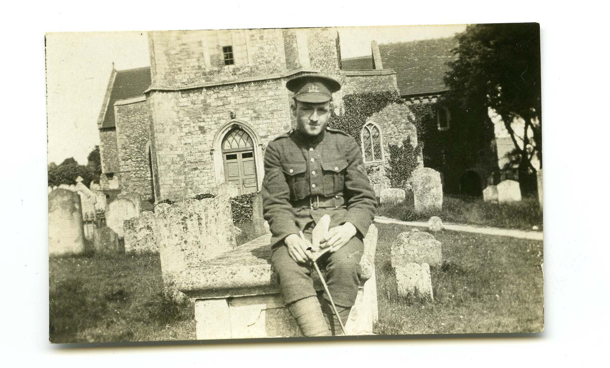 Stanley Bowen outside a church somewhere in England during First World War before serving at Western Front.</p>