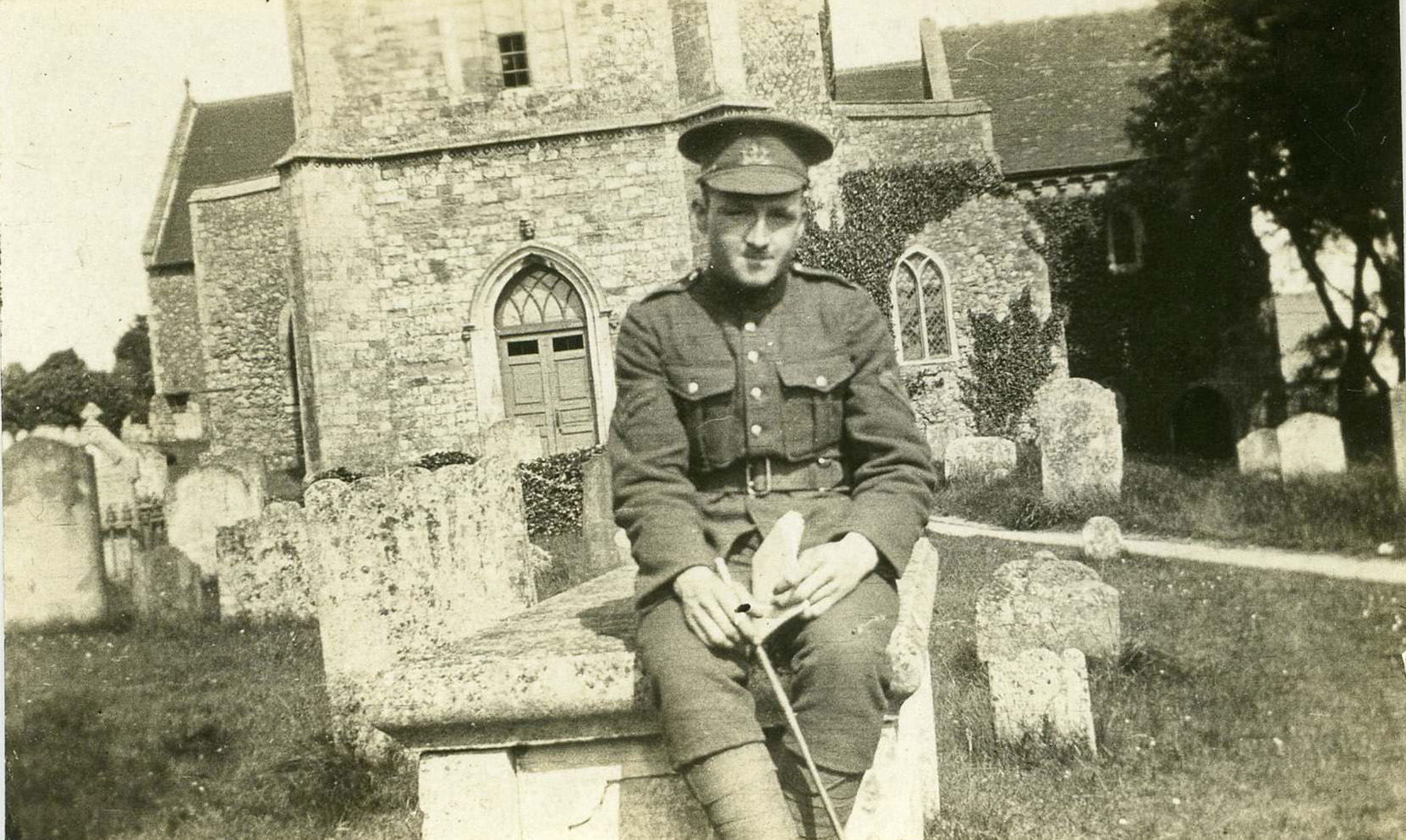 SUPPLIED<P><p>Stanley Bowen outside a church in England during First World War, before he served at the Western Front.