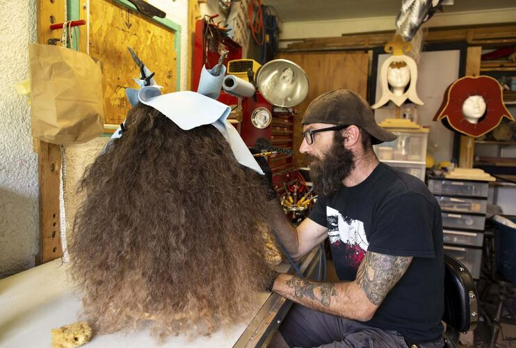 ANDREW RYAN / WINNIPEG FREE PRESS</p><p>Chris Hadley works on the prosthetic Beast head at his home studio in Winnipeg.</p></p>