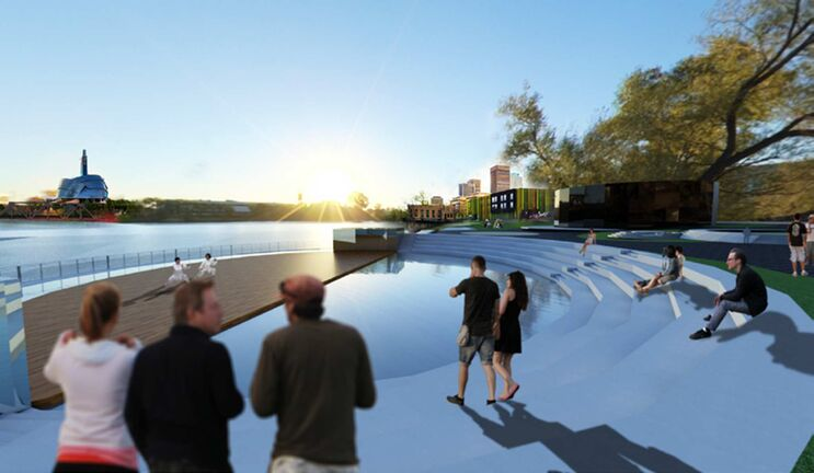 A sunny view of Luxia Yang's Pier 70 Waterfront Cultural Centre concept.  (Supplied)