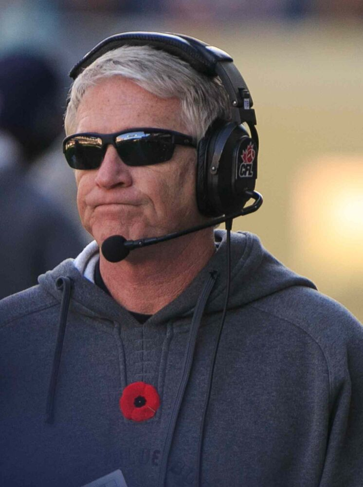 Bombers' head coach Tim Burke looks on near the end of another Blue Bombers loss at Investors Group Field.