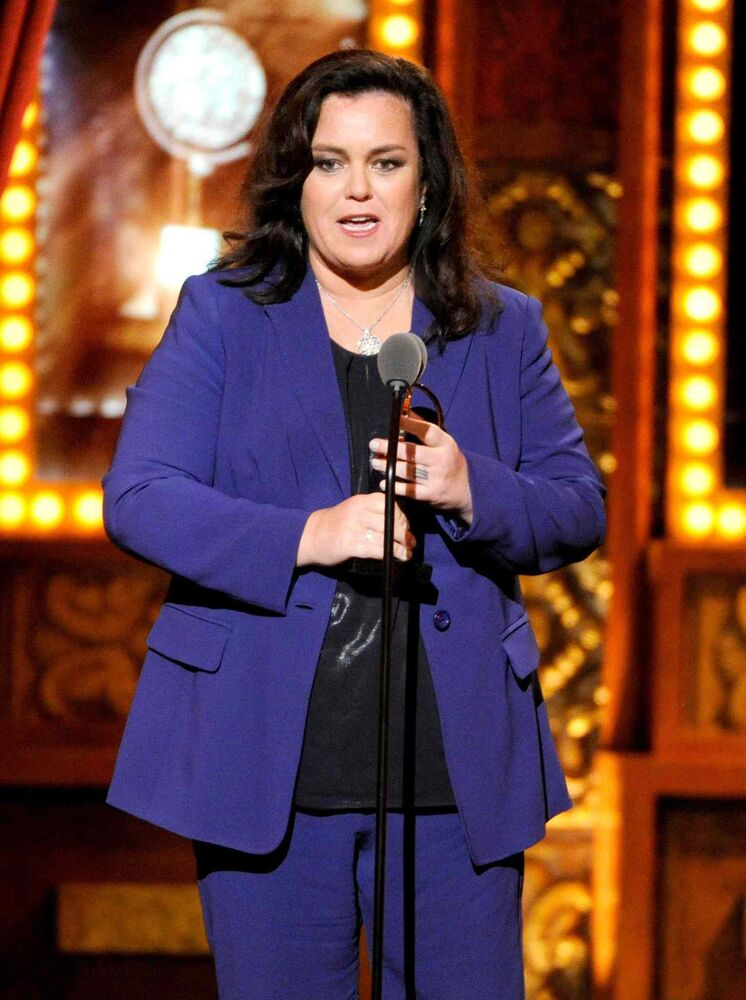 Rosie O'Donnell accepts the Isabelle Stevenson Award, which is awarded to an individual based on humanitarian efforts in the theatre community.   (Evan Agostini / The Associated Press)