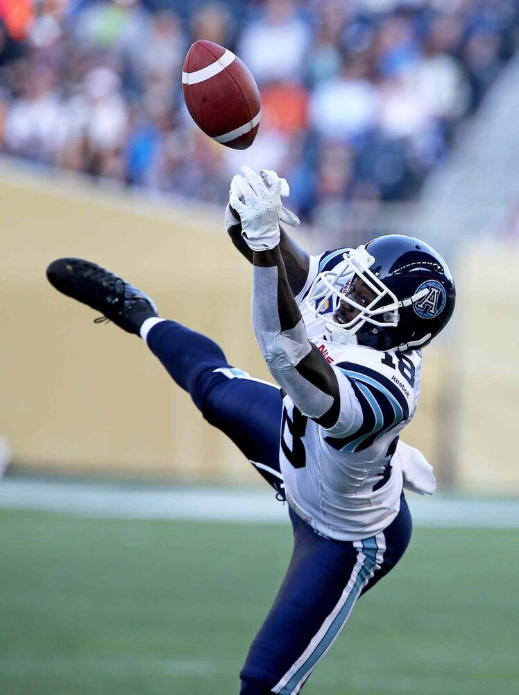 Toronto's Jarred Fayson drops a pass during the first half. (CP)