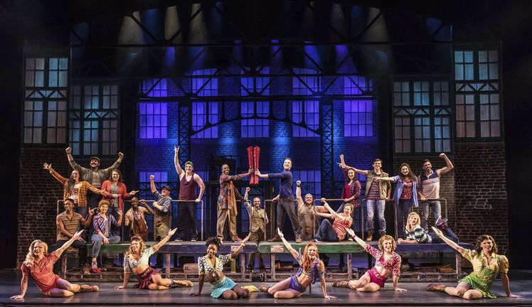 When the Angels and the factory's assembly line are incorporated into the choreography, Kinky Boots takes a step in the right direction. (Matthew Murphy)